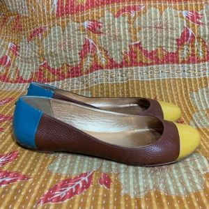 Kate Spade Brown Yellow Blue Leather Ballet Flats
